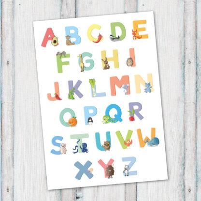 postkarte ABC alphabet bg